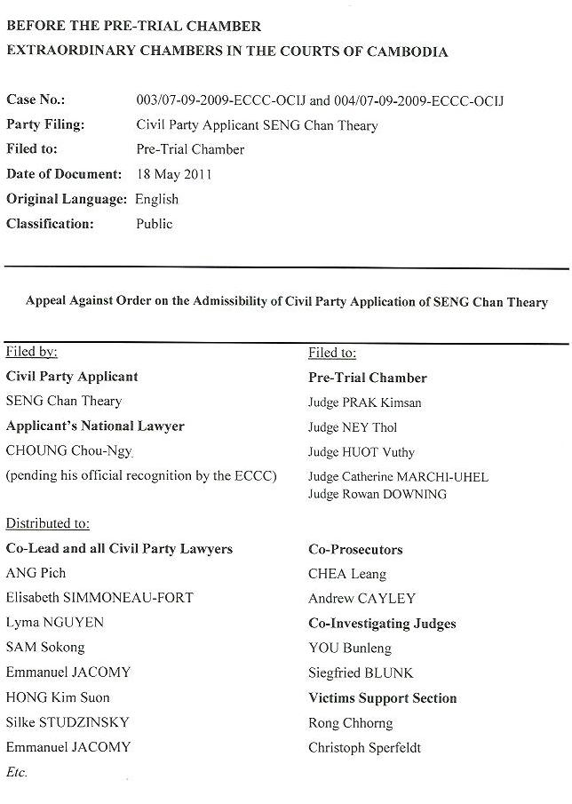 Appeal Against Order of Admissibility of Civil Party Application of SENG Chan Theary