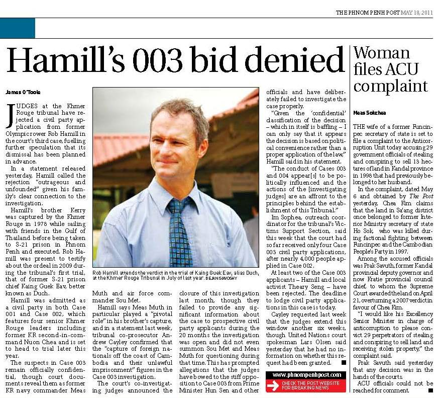 Phnom Penh Post, CIJs reject Rob Hamill's CP application, 18 May 2011