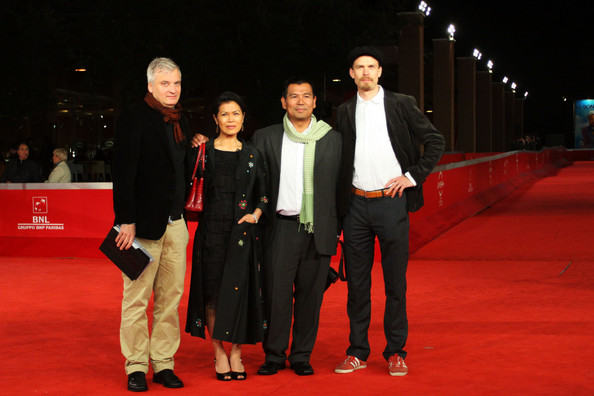 David Aronowitsch, Theary Seng, Sina Seng, Tobias Janson on red carpet, International Rome Film Festival, 3 Nov. 2010