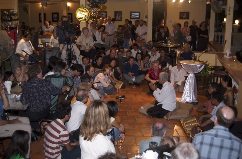 Theary Seng and crowd, Phnom Penh launch of memoir, Dec. 2005