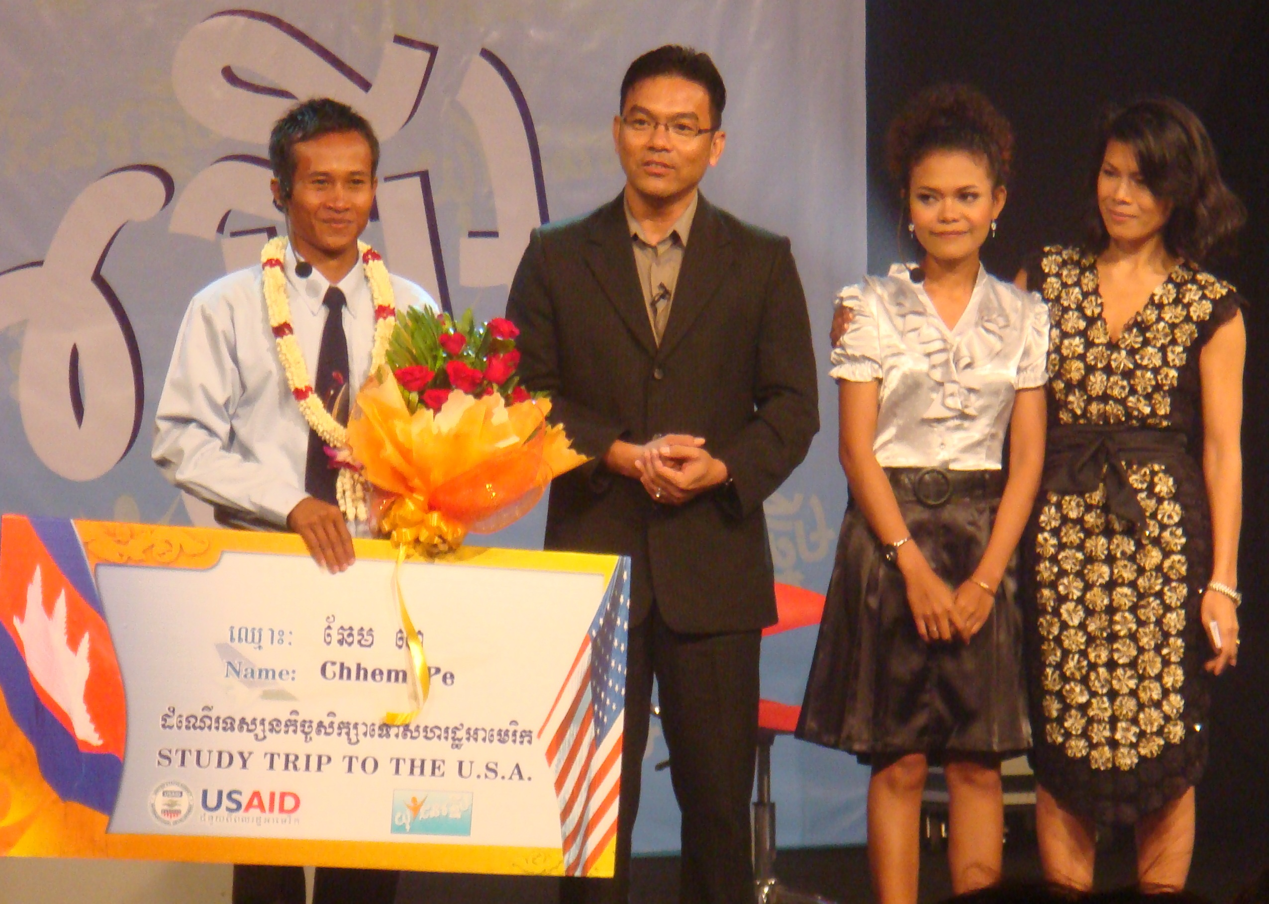 Co-hosts Theary Seng and Dr. Chea Samnang with finalists CTN Studio